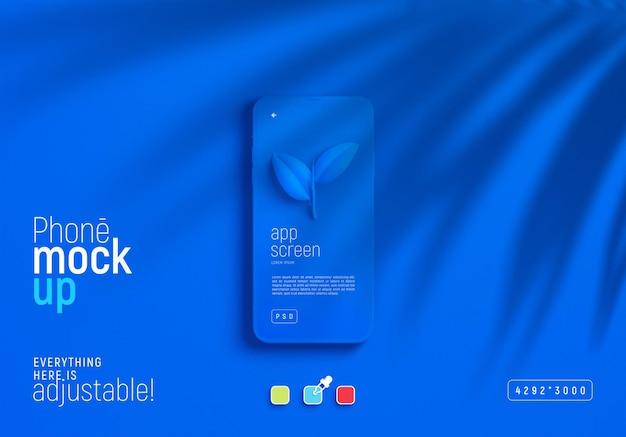 Smartphone-modell mit blättern schatten Kostenlosen PSD