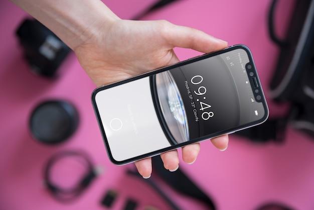 Smartphone-modell mit fotokonzept Kostenlosen PSD