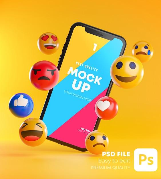 Smartphone zwischen einer reihe von emoji-emoticons im 3d-rendering mockup Premium PSD