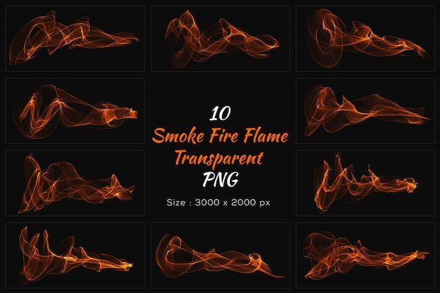Smoke fire flame transparente sammlung Premium PSD