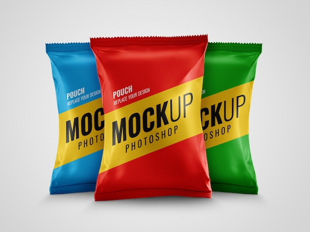 Snack pack pouch packaging mockup Premium PSD