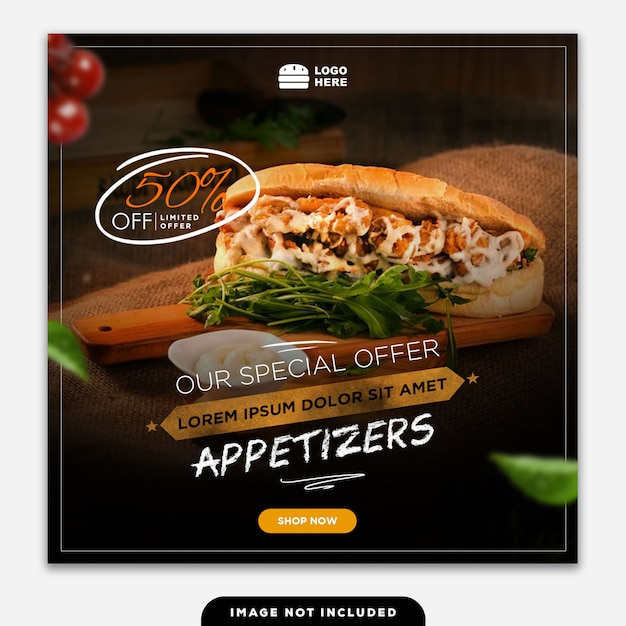 Social media banner post essen lecker Premium PSD