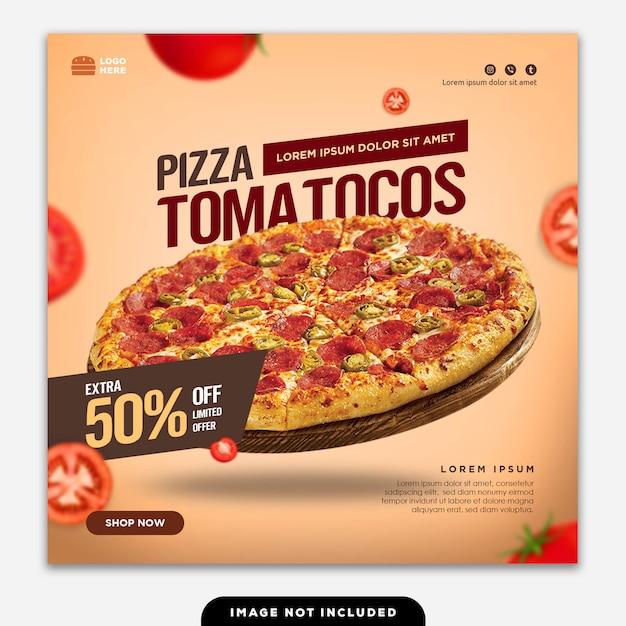 Social media banner post essen pizza Premium PSD