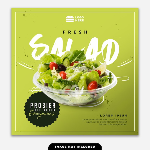 Social media banner post food salat grün Premium PSD
