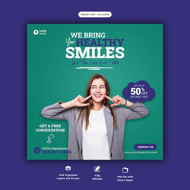 Social media-banner-vorlage für zahnarzt und zahnpflege Kostenlosen PSD