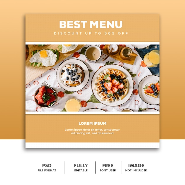 Social media banner vorlage instagram, food luxus bestes gold Premium PSD