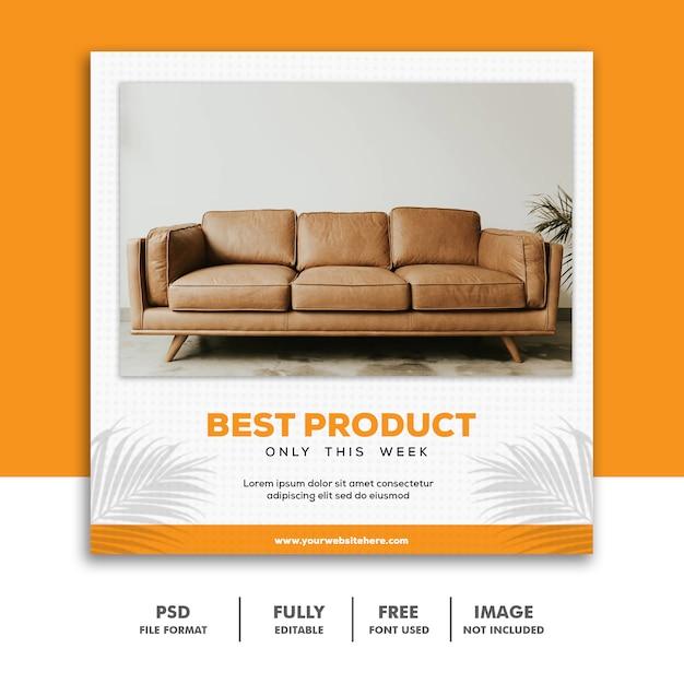 Social media banner vorlage instagram, möbel best orange luxury Premium PSD