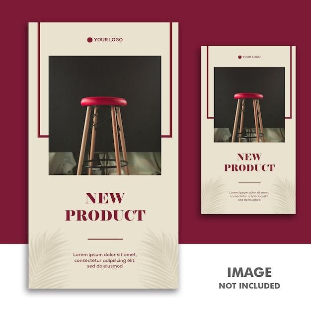 Social media banner vorlage instagram story, möbel luxus neuware rot Premium PSD
