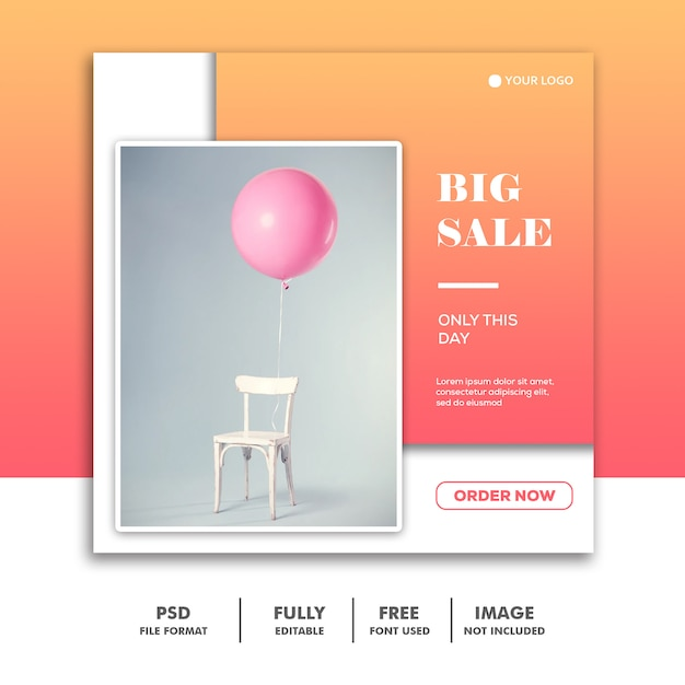 Social media banner vorlage, möbeldekoration verkauf Premium PSD