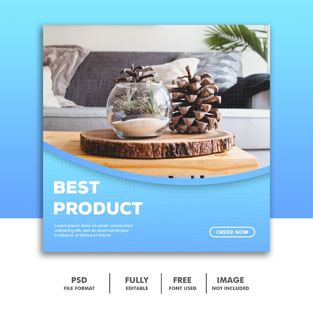 Social media-banner-vorlage, möbeldekorationsprodukt Premium PSD
