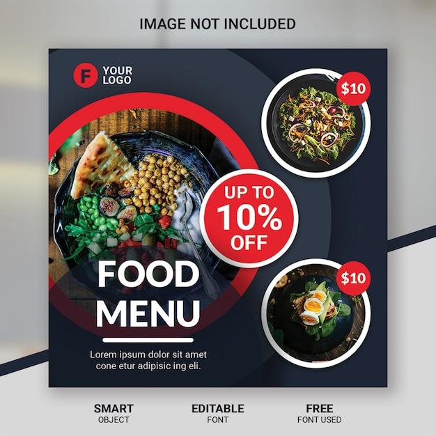 Social media beitrag food restaurant vorlage Premium PSD