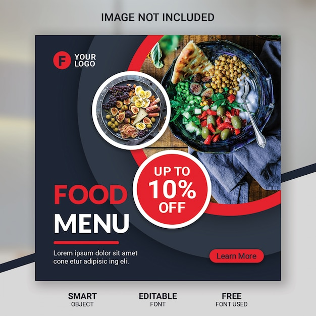 Social media beitrag lebensmittel rabatt restaurant vorlage Premium PSD