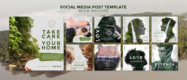 Social media-beitragsschablone der wilden natur Kostenlosen PSD