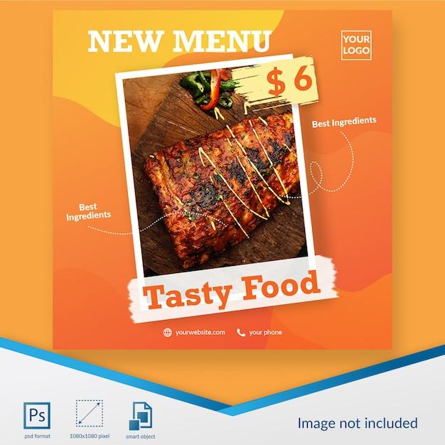Social media-beitragsschablone des neuen menüs des lebensmittels und des getränks Premium PSD
