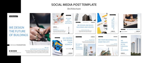 Social media-beitragsvorlage des architekturkonzepts Premium PSD