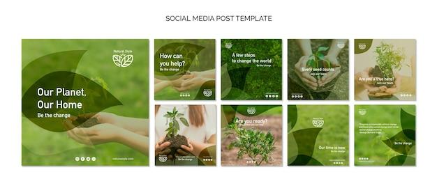 Social media beitragsvorlage mit umweltthema Kostenlosen PSD