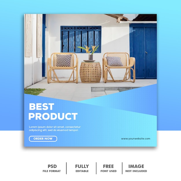 Social media-fahnen-schablone, möbel-dekoration elegant Premium PSD