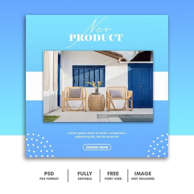 Social media-fahnen-schablone, möbel-luxusblau Premium PSD