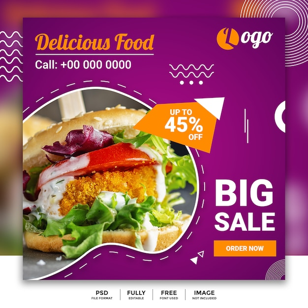Social media food banner vorlage Premium PSD