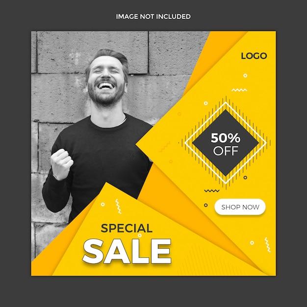 Social media instagram beitrag oder quadratisches fahnenschablonendesign Premium PSD