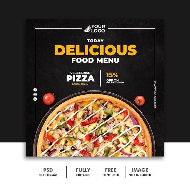 Social media post fastfood banner vorlage für restaurant pizza Premium PSD
