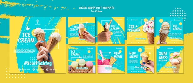 Social media post mit eis Premium PSD