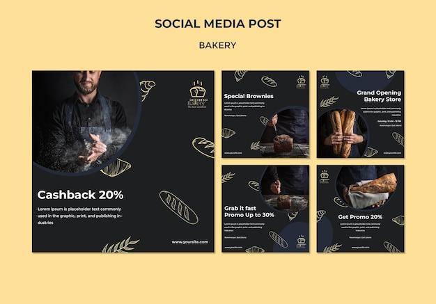 Social-media-post-vorlage für bäckerei-anzeigen Kostenlosen PSD