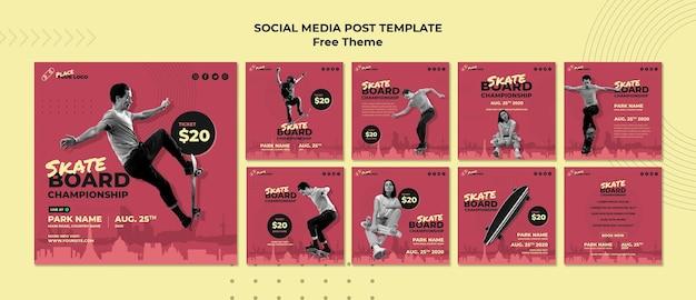 Social-media-post-vorlage für das skateboard-konzept Kostenlosen PSD