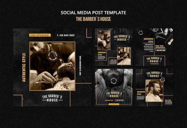 Social media post-vorlage für friseursalons Premium PSD