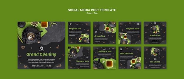 Social media post-vorlage für grünen tee Premium PSD