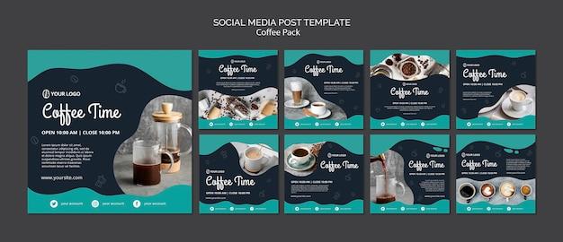 Social media post vorlage mit kaffee-konzept Kostenlosen PSD
