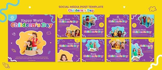 Social-media-post-vorlage zum kindertag Premium PSD