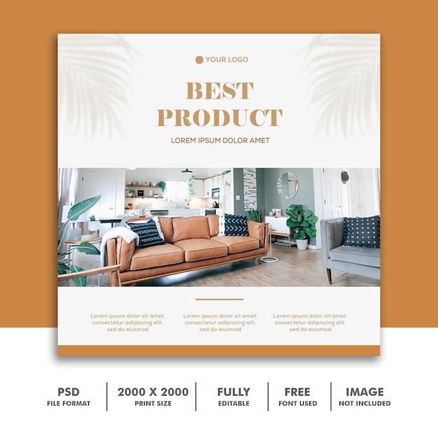 Social media postkarte instagram, möbeldekoration gold Premium PSD