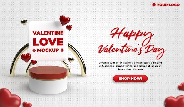 Social media valentinstag vorlage für werbe-website banner vorlage Premium PSD