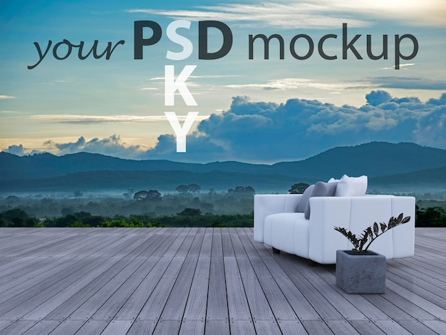 Sofa 3d auf sundeck mountain view Premium PSD