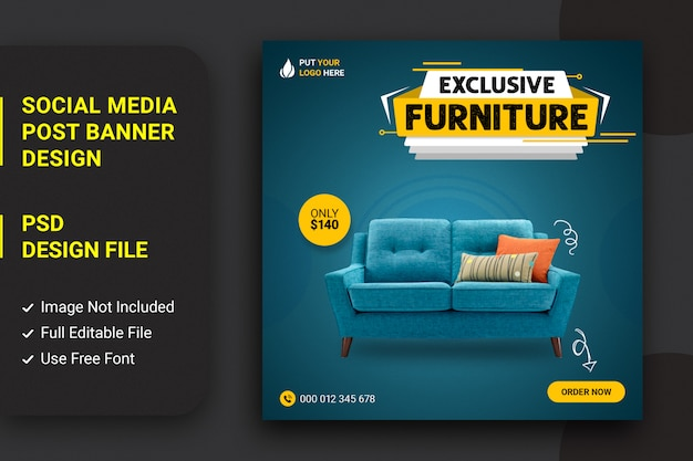 Sofamöbel, die social-media-post-design verkaufen Premium PSD
