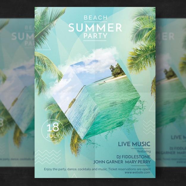 Sommer party flyer vorlage Premium PSD