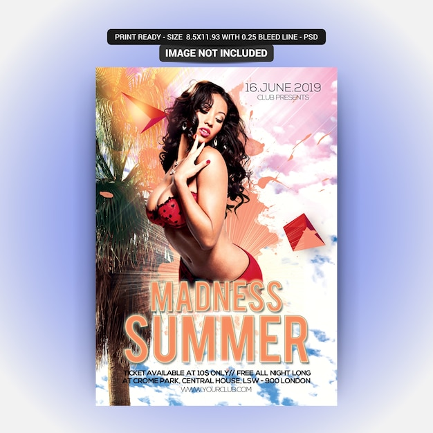 Sommer-party-flyer Premium PSD