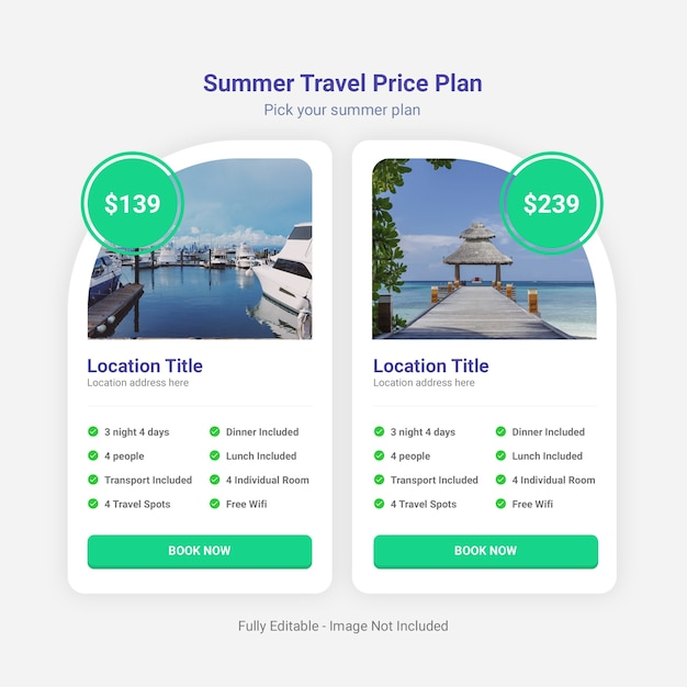 Sommer reisepreisplan tabelle vorlage Premium PSD