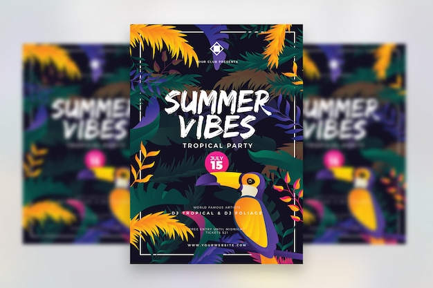 Sommer-tropisches musikfestival-plakat Premium PSD