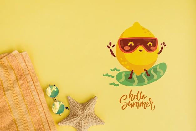 Sommerbeschriftungshintergrund mit sommerelementen Kostenlosen PSD