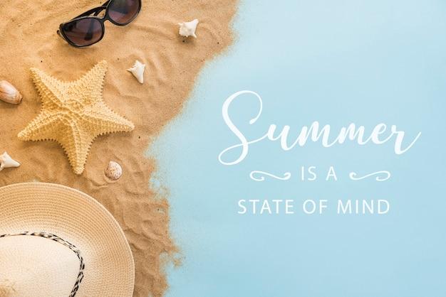 Sommerbeschriftungshintergrund mit sommerelementen Premium PSD
