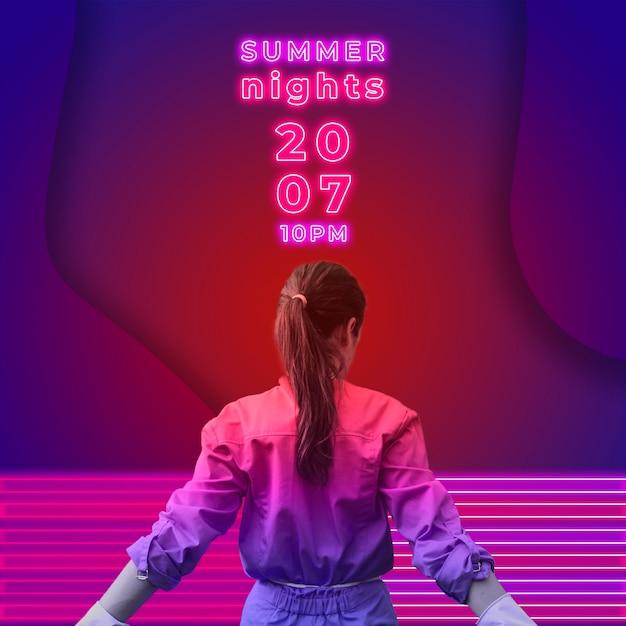 Sommernachtsparty banner im neonlicht stil Kostenlosen PSD