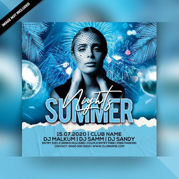 Sommernächte party flyer Premium PSD