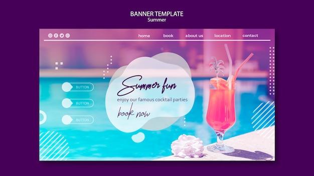 Sommerspaß-bannerschablone mit foto Kostenlosen PSD