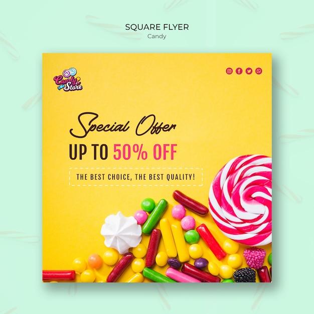 Sonderangebot candy shop square flyer Kostenlosen PSD