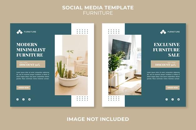 Soziale medienpostvorlage des modernen möbelgeschäftkonzepts Premium PSD