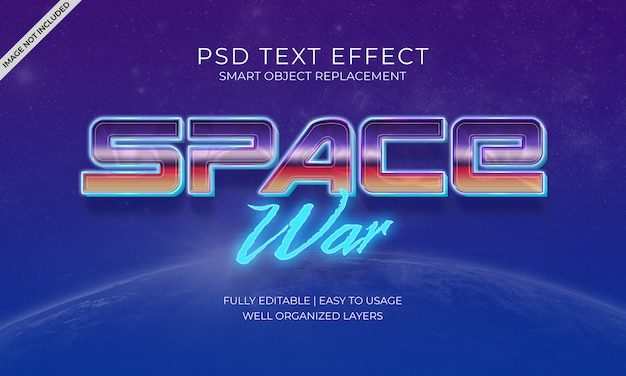 Space war text effekt Premium PSD