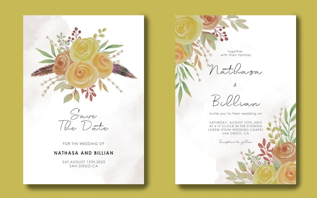Speichern sie die datumskartenvorlagen und hochzeitseinladungen mit aquarellblumenrahmen Premium PSD