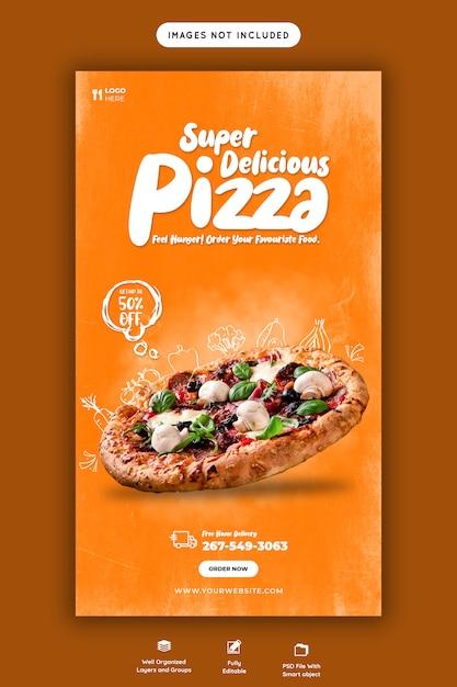 Speisekarte und leckere pizza instagram story vorlage Premium PSD